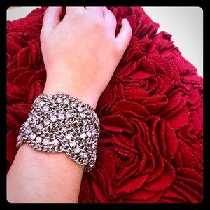 New Stella Dot Silver Petra Bracelet Rhinestones